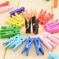 Wholesale hot sales office and school supplies cute colorful mini wooden paper clips paperclips photo clips pegs random color