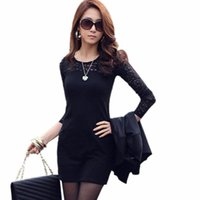 Wholesale Ladies Short Dresses Skinny - Wholesale- Vestidos Party Dresses Women Large Size Dress Sexy Lace Splice Package Hips Slim Skinny Long Sleeve Bodycon Office Lady Clothes