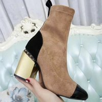 Wholesale Ladies Black Work High Heels - 2018 Fall Winter Suede leather Womens Boot High chunky heels Mixcolor Ladies T Show Boots