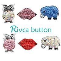 Wholesale Leather Crystal Owl Bracelet - D01010 rivca owl button noosa chunk rhinestone women metal jewelry heart chunk leather jewelry accessories