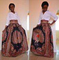 Wholesale Animal Print Maxi - 2017 African Women Boho Dashiki Coffee Peacock Dresses Cocktail Clubwear high waist Pleated Skirt National characteristic Maxi Dress