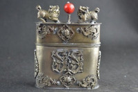 Wholesale Dragon Phoenix - Old Collectibles Handwork Miao Silver Carving Kylin Dragon & Phoenix Tobacco Box