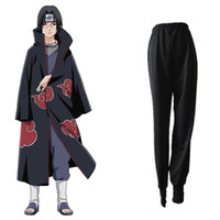 naruto cosplay toptan satış-Uchiha Itachi cosplay kostümleri pantolon Naruto Shippuden Japon anime Naruto giyim cadılar bayramı kostümleri Masquerade kostümleri siyah