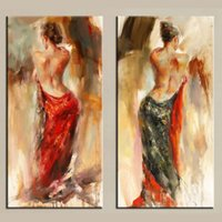 Wholesale flamenco paintings resale online - 2Panel Pure Handicrafts Modern Impressionist Art Oil Painting Flamenco Dancer Sexy Back Home Decor High Quality Canvas size can customized