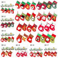 Wholesale Socks Child Decoration - Christmas Gifts For Children Christmas Stockings Socks Forks Bags Cute Candy Bag Socks Christmas Tree Ornaments Decorations 300pcs OOA3264