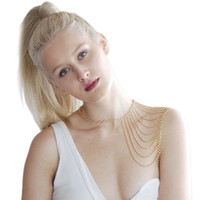 Wholesale Metal Choker Necklace Body Chain - Europe and the United States popular metal body fashion necklace tassel shawl butterfly Wen jewelry wholesale