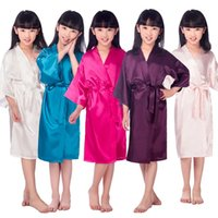 Wholesale Kid S Bathrobes - Kids' Satin Kimono Robe Bathrobe Nightgown for Spa Party Wedding Birthday Children's Silk Stain Pure Kimono Wedding Dressing