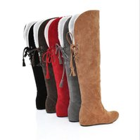Wholesale long black round shoe laces - New Fashion Women Snow Boots Thick Keep Warm Fur Shoes Sexy high Heel Wedge Shoes Round Toe Platform Knee High Long Winter Boots