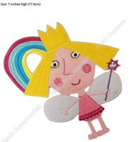"""Wholesale Ben Movie - 7"""" Ben And Princess Holly little kingdom patch Film TV MOVIE Felt applique Character Girl halloween Cartoon Embroideried iron on"""