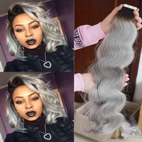 """Wholesale Real Tapes - Burgundy 18""""-24"""" PU Skin Weft Hair Extension India Premium Pu Tape In 40 Pcs 2.5g pc 100G Real Natural Human Hair"""