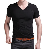 Wholesale Cheap Fitted Shirts Men - Wholesale-New Black Men's Cheap Clothes Slim Fit Cotton Stylish V-Neck Casual Short Sleeve Casual T-Shirt Tops. Free Shipping