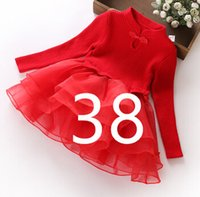 Wholesale Girls Lace Collar - fashion new autumn winter girl dress warm dress baby kids clothing.