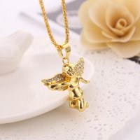 Wholesale Diamante Wings - New Arrivals Hip Hop 18K Gold Plated Diamante Wing Angel Pendant Necklace Full Crystal Fashion Jewelry for Men