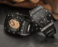 Wholesale Unique Sports Glass - Skone Hollow Silicone Watch Male Unique Design Skull Watches Men Luxury Brand Sports Quartz Wrist Watch relogio masculino