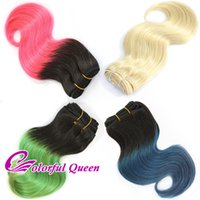 Wholesale Blue Color Hair Weft - Ombre Human Hair Bundles Body Wave Short Ombre Hot Pink Green Blue Human Hair Weaves 3pcs 613 Platinum Blonde Body Wave Human Hair 150g Lot