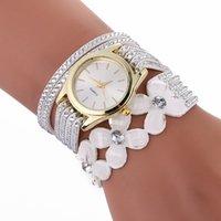 Wholesale Petal Watch - wholesale four petals flower big diamond 2017 women leather bracelet watch fashion ladies casual dress party quartz watches