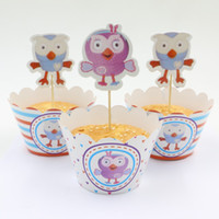 Wholesale Bird Cupcake Wrappers - Wholesale- cake accessory 24pcs cartoon owl bird of Minerva cupcake wrapper topper,party decoration birthday party decoration supplies