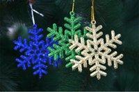 Wholesale Set Plastic Snowflake Ornaments - Christmas Glitter Snowflake Xmas Tree Hanging Decoration Party Home Christmas Ornaments 6pcs set Free Shipping WA1602