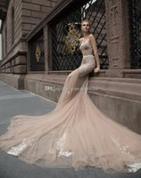 Wholesale Inbal Dror Backless Wedding Dresses - champagne corset wedding dresses 2017 inbal dror mermaid sweetheart neckline embroidery appliques beaded tulle wedding gowns