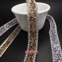 Wholesale Bridal Lace Yard - 8 colors New Products 1.5cm Topaz fashion Crystal Clear Rhinestone trim bridal applique Lace Trim yard
