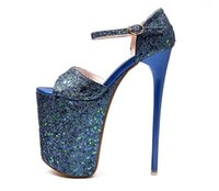 Wholesale Sandals Platform Summer - Plus Size 35-43 19cm Super High Heels Summer Women Sandals Hollow Out Platform Buckle Strap Sequined Leaether Women Fashion Sandals Open Toe