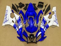Wholesale Yamaha R6 Motor - New motor Injection Fairing kit Fit for YAMAHA YZFR6 06 07 YZF R6 2006 2007 YZF600 yzfr6 06 07 ABS blue white full Fairings set+4gifts