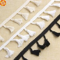 50Yard Bianco / Nero / Beige DIY cotone nappa Fringe Nastro Nastro di bordo Merletto di cucito Mestieri AccessoriesHome Party Decoration