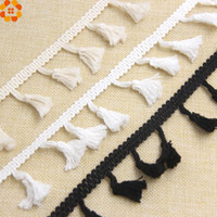 Wholesale Black Fringe Ribbon - 50Yard White Black Beige DIY Cotton Tassel Fringe Ribbon Lace Trim Ribbons Sewing Cloth Crafts Accessories&Home Party Decoration