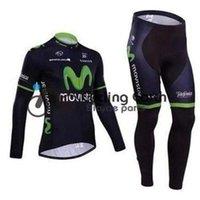 Wholesale Movistar Long Sleeve - Movistar 2014 #1 long sleeve cycling jersey pants bicycle bike riding cycling autumn wear clothes set+gel pad