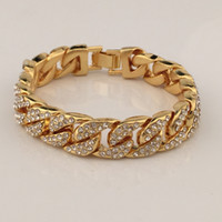 Wholesale Nacklace Set Gold - Full Diamond Hip Hop Bracelets For Men High Quality Pop Hip-Hop Nacklace Jewelry Luxury Party Accessories 2017 New Arrival