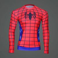Wholesale Mens Captain Costume - 3d t shirt men compression Superman Captain America Avengers Costume Superhero Soldier Mens Long sleeves T-shirts