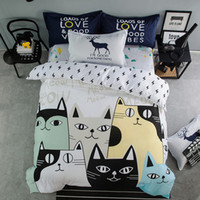 Wholesale chinese bedspread queen - Wholesale- Cartoon cat bedding set 100%cotton letter animal printed duvet cover set Europe style sheet bedspread pillowcase home textile