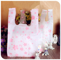 """Wholesale Printed Plastic Shopping Bags Wholesale - Wholesale- Free shipping size 18*35cm(7""""*14"""") Supermarket Shopping plastic Bag with handle printing Cherry blossom plastic bag 100pcs lot"""