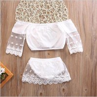 Wholesale Baby Girls Tshirts - Retail Ins New Summer Baby Girls Two Piece Clothing Sets Off Shoulder Lace Tshirts+Shorts Fashion Outfits Infant Clothes SH013