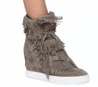 Wholesale Wedge Ankle Winter Booties - Free Shipping Hot Selling Fringe Suede Wedge Boots Height Increasing Lace up Ankle Booties Tassels Boots Women High Quality