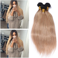 Straight 1B / 27 Dark Root Honey Blonde Ombre Brazilian Hair Hair Bundles 3Pcs Light Brown Ombre Virgin Human Hair Weaves Extensions