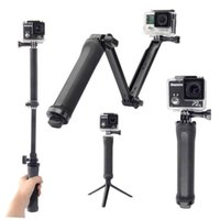 Wholesale Universal Head For Tripod - Universal Action Camera Accessories Collapsible 3 Way Monopod Mount Camera Grip Extension Arm Tripod Stand for SJCAM SJ4000