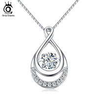 Wholesale Sterling Silver Jewelry Infinity Link - ORSA JEWELS Solid 925 Silver Women Necklaces Double Infinity Pedants with Movable Crystal Eternity Jewelry SN50