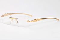 ingrosso bicchieri di telaio chiaro di leopardo-Francia Marca Buffalo occhiali da sole degli uomini di vetro dello specchio pianura leopardo oro struttura in metallo chiaro obiettivo uomini ottici gli occhiali da sole con il caso scatola originale