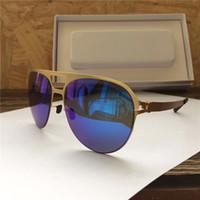 Wholesale sunglasses screws for sale - Group buy New MYKITA Popular Sunglasses Pilot Frame No screws Designer with Mirror Lens Ultra Light Frame With Original Box