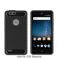 Wholesale Iphone Blade Design - Carbon Fiber Design Rugged Hard Armor Phone Case For ZTE Blade Z Max Z982 For ZTE Avid 4 MetroPCS Iphone X 8 PLUS