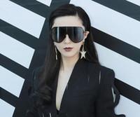 grandes lunettes noires femmes achat en gros de-Mode Surdimensionné Hommes Polarisé Visage Lunettes De Soleil Femmes Lunettes De Soleil Grandes Lunettes Noires Déclaration Lunettes Siamois-style Lunettes De Soleil