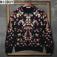 Wholesale Print Robot - 2017 autumn fashion brand tag clothing men giv flower print robot runway pullover hoodies sweatshirt Kanye West Moletons
