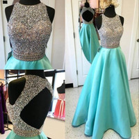 Wholesale sparkly top dress resale online - 2017 New Sparkly Mint Green Crystal Prom Dresses Sleeveless Sexy Open Back Rhinestones Top A Line Evening Gowns Special Occasion Wear
