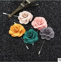 Wholesale Handmake Flowers - Lapel flower camellia handmake boutonniere brooch pin men accessories 22 colors button stick flower brooches for wedding party