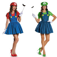 Wholesale Hen S Party - Wholesale-free shipping green Super Mario Luigi Brothers Sexy Women Ladies Fancy Dress Costume Hen Night Party plus size s-2xl