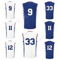 Wholesale Robert Quality - Printed 33 Robert Covington Jersey Men 11 Nik Stauskas 12 Gerald Henderson 9 Dario Saric Basketball Jerseys Color Blue White Top Quality