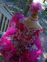 ingrosso i vestiti dalla ragazza del fiore della piuma viola-Scoop bow Purple Feather collana fatti a mano fiore palla abito cupcake toddler bambine pageant abiti flower girls per matrimoni glitz
