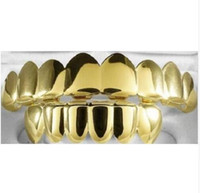 Wholesale Real Gold Free Shipping - 8 Tooth FREE SHIPPING REAL SHINY REAL GOLD PLACTING Top Bottom GRILLZ Bling Mouth Teeth Caps Hip Hop Grills