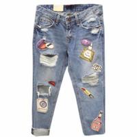 patchwork pantalones patrón mujeres al por mayor-Boyfriend Ripped Denim Jeans Mujer Pantalones de remiendo de gran tamaño Pantalones Casual Destroyed Big Hole Pattern C081